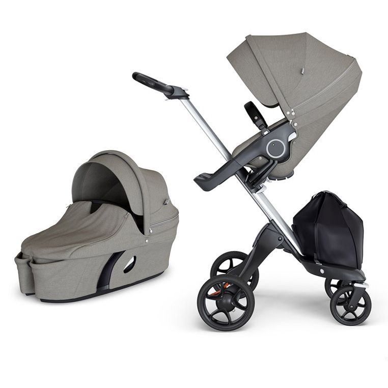Фото: Коляска 2 в 1 Stokke Xplory V6 Brushed Grey/Silver c черной ручкой